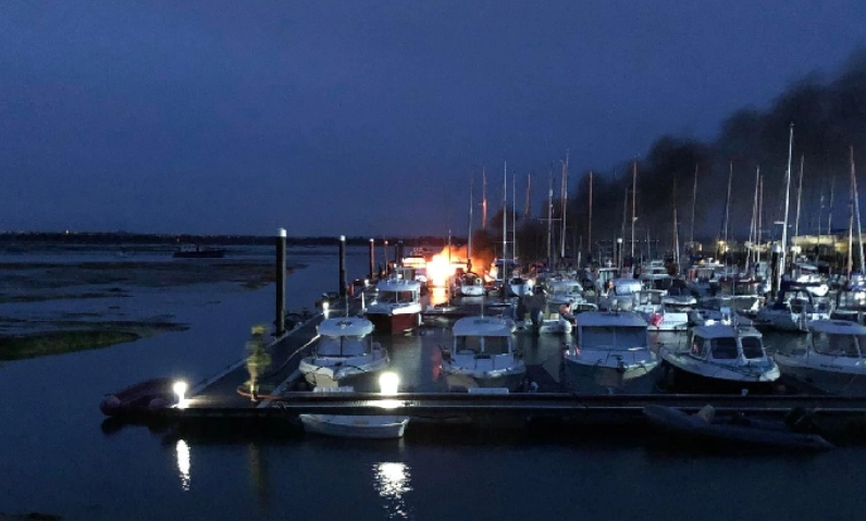 Two boats sink following blaze at Hayling Island marina