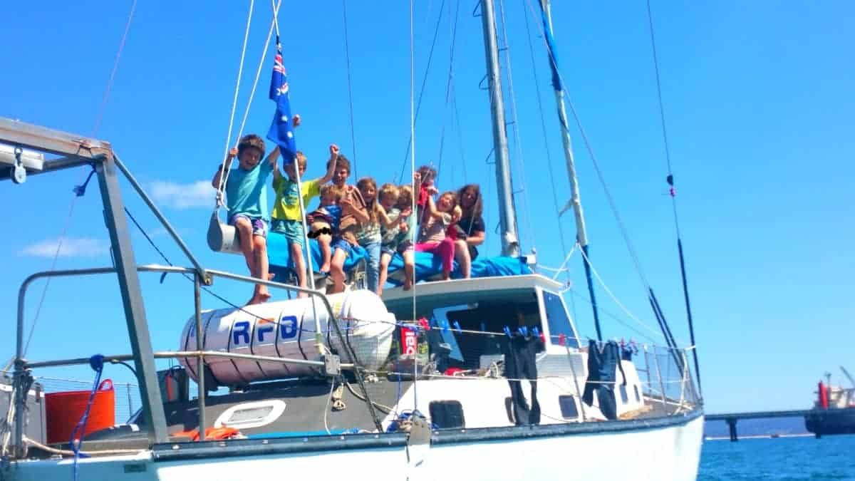 family of 13 sailing