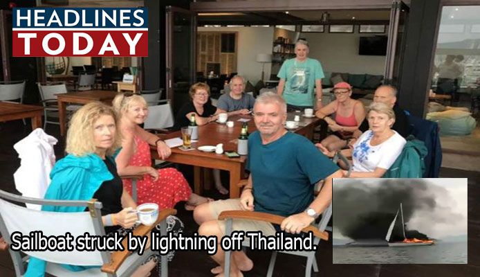 British tourists have been rescued from their burning yacht after it was struck by lightning off Thailand