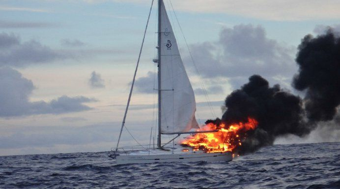 fire on sailboat
