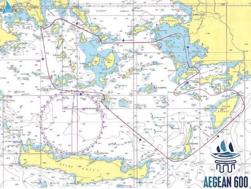 #Aegean600 course map.The event will be sailed in the waters of the South Aegean Sea.COURSE START (Sounio) – Milos isl. to port – Gate at Santorini Caldera – Kassos, Karpathos and Rhodos islands to port – Kandelousa to starboard – Kos to port, Kalolimnos to starboard, Farmakonissi,Agathonissi and Patmos islands to port – Gate at Mykonos and Dilos strait – Kea isl. to port – FINISH (Sounio).The length of the course is approximately 605 nautical miles Non-Stop.Alternative courses for the Double Handed Class may be scheduled