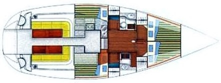 Accommodates 6 guests in 3 double cabins (plus 1 for the crew). 2 Heads (WC) with Showers.