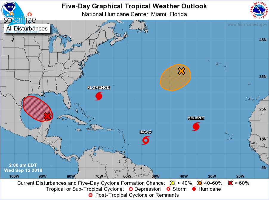#TropicalWeatherOutlook, NWS National Hurricane Center Miami FL, 200 AM EDT Wed Sep 12 2018For the #NorthAtlantic... #CaribbeanSea and the #GulfofMexico :The National Hurricane Center is issuing advisories on #HurricaneFlorence, located over the western Atlantic Ocean, on #HurricaneHelene, located over the eastern Atlantic, and on #TropicalStormIsaac, located several hundred miles east of the Lesser Antilles.1. Showers and thunderstorms have not become any better organized during the past several hours in association with a trough of low pressure located over the south-central Gulf of Mexico.  In addition, satellite data and surface observations indicate that there is still no sign of a surface circulation. However, upper-level winds are forecast to become more conducive for development, and a tropical depression is likely to form on Thursday or Friday before the system reaches the western Gulf Coast.