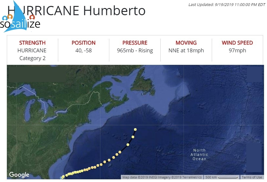 #Hurricane #Humberto Observation 30Date: 9/19/2019 11:00:00 PM EDTPosition: 40, -58Sustained Wind Speeds: 97mph