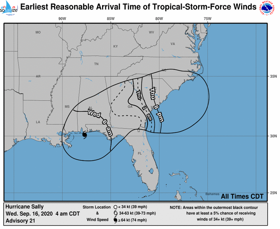 Key Messages for #Hurricane #Sally Advisory 21: 4:00 AM CDT Wed Sep 16, 2020 1. Historic and catastrophic flooding is unfolding along and just inland of the coast from west of Tallahassee, Florida, to Mobile Bay, Alabama. In addition, widespread moderate to major river flooding is forecast. Significant flash and urban flooding, as well as widespread minor to moderate river flooding, is likely across inland portions Alabama into central Georgia. Widespread flash and urban flooding is possible, as well as widespread minor to moderate river flooding, across western South Carolina into western and central North Carolina. Scattered flash and urban flooding is possible, as well as scattered minor river flooding in southeast Virginia. 2. Life-threatening storm surge is occurring along portions of the coastline from Alabama to the western Florida Panhandle, including Pensacola Bay and southern portions of Mobile Bay. 3. Hurricane conditions are expected this morning and then continue into this afternoon within portions of the Hurricane Warning area along the Mississippi and Alabama coastlines and the western Florida Panhandle.