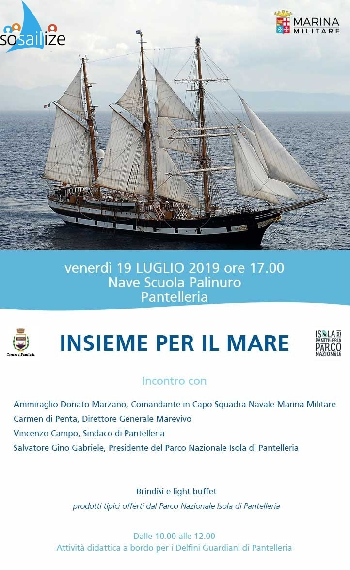 "The Palinuro training ship for the first time in history arrives in Pantelleria, Italy!As part of the sustainable tourism week, the Navy training ship Palinuro will land for the first time in Pantelleria. A unique and historic event for an island that deserves special recognition for its immense landscape and cultural value. On 19 July, from 10:00 to 12:00, on board the ship, environmental education activities will be organized with marine service laboratories for the Dolphins Guardians of the Island of Pantelleria and the boys who participated in the project ""Ente Parco delle ragazze e dei Ragazzi ""of Marevivo in collaboration with the Ministry of the Environment and the Protection of the Territory and the Sea. In the afternoon, at 5:00 pm, the Marevivo conference ""Together for the sea"" will be held in which they will talk about the over 30 years of collaboration for the protection of the marine environment. Local and regional authorities will be present."