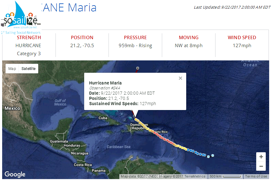 Tracking Hurricane Maria<br />Observation #24A<br />Date: 9/22/2017 2:00:00 AM EDT<br />Position: 21.2, -70.5<br />Sustained Wind Speeds: 127mph