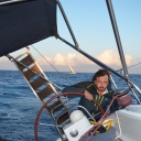 Getting into trouble, do not let the sun fool you, we had 35-38 knots winds....