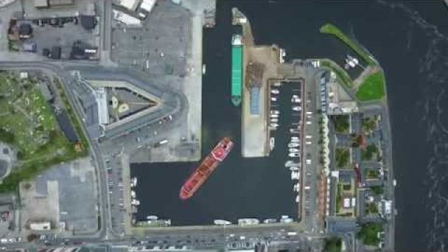 Aerial time-lapse of Galway Fisher entering Port of Galway