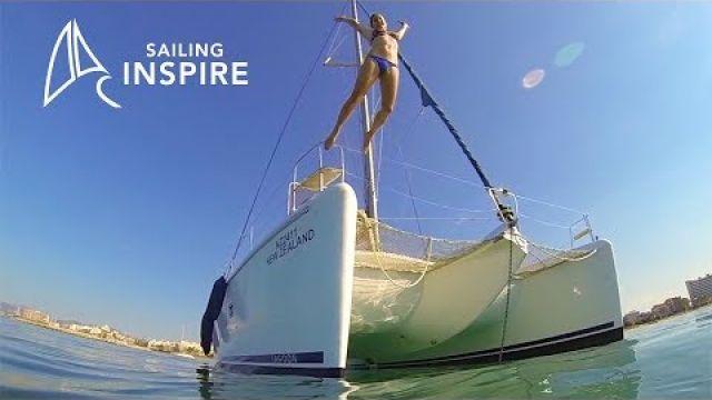 Anchoring a Lagoon 420 and we head up the main sail Sailing Inspire Ep 2