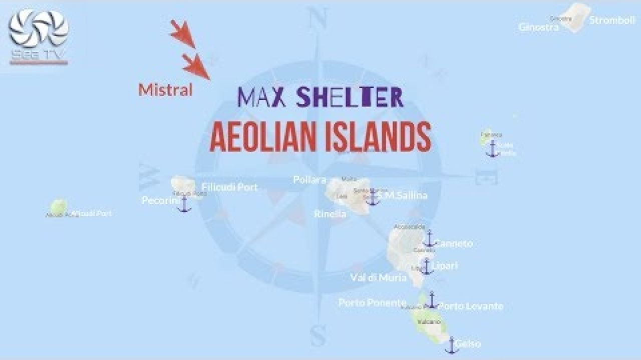 Wind direction &recommended docking marked with ⚓️for maximum shelter in the Aeolian Islands Sicily