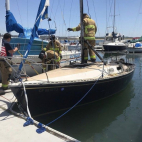 Fire damages docked sailboat at Campland in San Diego,Ca